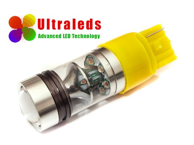 Żarówka LED T20 W21W 7440 75 Wat 15*5W CREE XBD LED Osram Chip pomarańczowa
